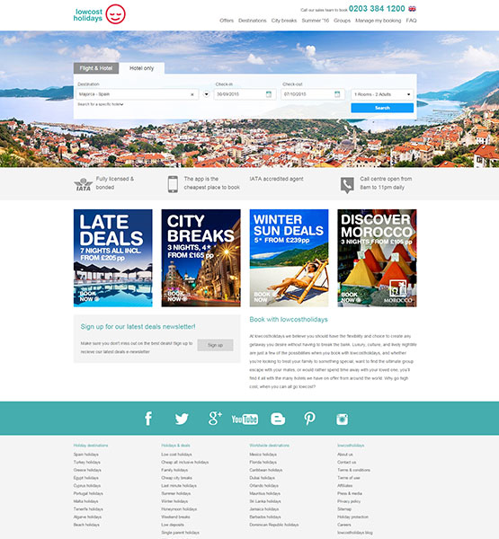 Lowcostholidays Homepage